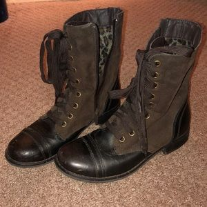 Leather and suede boot